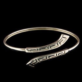 Sterling Silver Cuff Bracelet - Long Greek Key