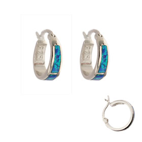 The Neptune Collection - Sterling Silver Hoop Earrings - Opal (15mm)