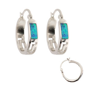 The Neptune Collection - Sterling Silver Hoop Earrings - Greek Key and Opal (20mm)