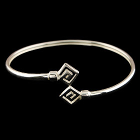 Sterling Silver Cuff Bracelet - Square Shape Greek Key