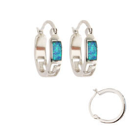 The Neptune Collection - Sterling Silver Hoop Earrings - Greek Key and Opal (16mm)