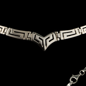 Sterling Silver Necklace - Greek Key Meander V (17mm)