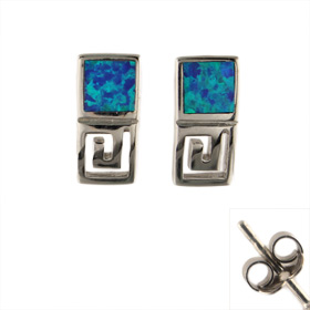 The Neptune Collection - Sterling Silver Earrings - Greek Key and Opal (13mm)