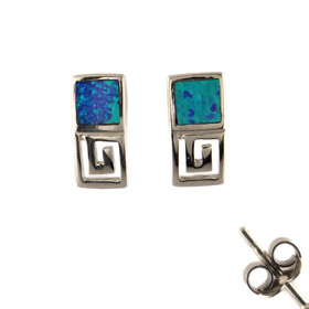 The Neptune Collection - Sterling Silver Earrings - Greek Key and Opal (11mm)
