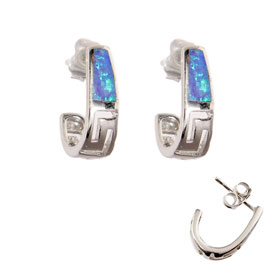 The Neptune Collection - Sterling Silver Post Earrings - Greek Key and Opal Narrow (15mm)