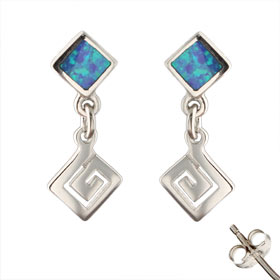 The Neptune Collection - Sterling Silver Earrings - Square Greek Key and Opal (22mm)