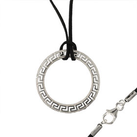 Sterling Silver Necklace w/ Cord - Greek Key Circle (54mm)