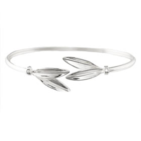 The Elaia Collection - Sterling Silver Bracelet - Olive Leaf Pair