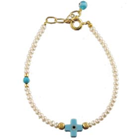 The Nefeli Collection - Mother of Pearl Bracelet with Blue Evil Eye Cross (2mm beads)