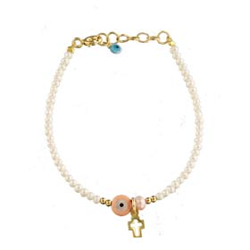 The Nefeli Collection - Mother of Pearl Bracelet with Pink Evil Eye and Cross (2mm beads)