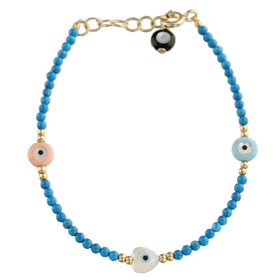 The Nefeli Collection - Blue Coral  Bracelet witth Triple Mother of Pearl Charms and Evil Eye (1.8 m