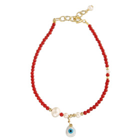 The Nefeli Collection -  Red Coral Bracelet with Tear Drop Shaped Mother of Pearl  Evil Eye (2mm bea