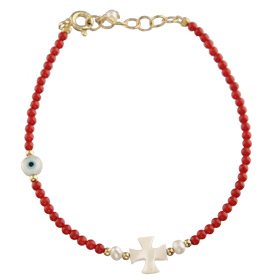 The Nefeli Collection - Red Coral Bracelet with Mother of Pearl Cross and Evil Eye (2mm beads)