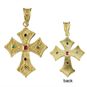 Justinian Collection - 24k Gold Plated Sterling Silver Pendant - Cross w/ Cubic Zirconia (34mm)