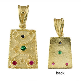 Justinian Collection - 24k Gold Plated Sterling Silver Pendant - Rectangle w/ Cubic Zirconia (20mm)