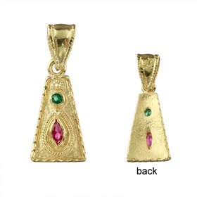 Justinian Collection - 24k Gold Plated Sterling Silver Pendant - Trapezoid w/ Cubic Zirconia (18mm)
