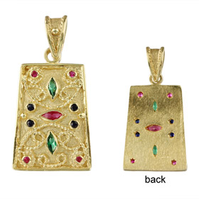 Justinian Collection - 24k Gold Plated Sterling Silver Pendant - Rectangle w/ Cubic Zirconia (27mm)