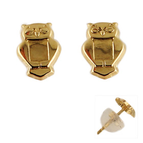 14k Gold Filled Post Earrings w/ Owl (5mm)