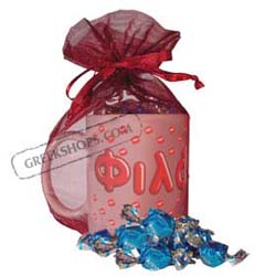 Greek Kisses Mug Valentine Gift Package with Chocolate