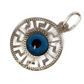 Sterling Silver Evil Eye Pendant with Greek Key Border (15mm)
