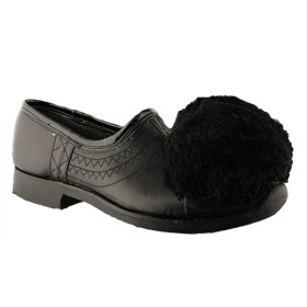 Traditional Hand-Crafted Black Leather Tsarouchia Shoes w/ Rubber Sole for Greek Costume