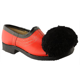 Traditional Hand-Crafted Red Leather Tsarouchia Shoes w/ Rubber Sole for Greek Costume