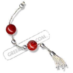 Sterling Silver Begleri Large Beads with Tassle (red)