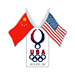 USOC Beijing USA House Pin Duel Flags USC-1217
