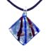Murano Glass Diamond-Shaped Pendant - Blue