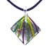 Murano Glass Diamond-Shaped Pendant - Green