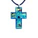 Murano Glass Cross-Shaped Pendant - Blue