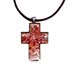 Murano Glass Cross-Shaped Pendant - Brown