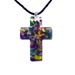 Murano Glass Cross-Shaped Pendant - Rainbow