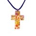 Murano Glass Cross-Shaped Pendant - Yellow