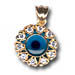 14k Gold Evil Eye Pendant - Flower-Shaped with Cubic Zirconia (13mm)