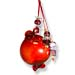 "Glass Pomegranate Good Luck Ornament (Gouri) - 3.5"" red flat back"