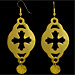 Gold Plated Earrings - Cross Motif w/ Decorative Charm (60mm)