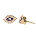 24K Gold Overlay and Sterling Silver Evil Eye Earrings w/ Cubic Zirconia 11mm