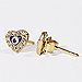 24K Gold Overlay Heart Shaped Evil Eye Earrings w/ Cubic Zirconia 8mm