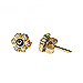 24K Gold Overlay Floral Shaped Evil Eye Earrings w/ Cubic Zirconia 6mm