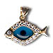 14k Gold Evil Eye Pendant - Fish-Shaped with Cubic Zirconia (20mm)