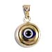 14k Gold Evil Eye Pendant - Double Circle Detail (9mm)