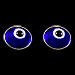 Greek Sterling Silver Mati Collection - Earrings w/ dark blue glass and Evil Eye (7mm)