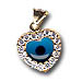 14k Gold Evil Eye Pendant - Heart-Shaped with Cubic Zirconia (12mm)