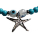 The Nefeli Collection - Blue Coral Bracelet Wiith Silver Star Fish and Evil Eye (4mm bead)