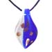 Murano Glass Teardrop Pendant - Blue & White