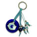Good Luck Charm Keychain with blue glass evil eye 121423