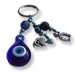Good Luck Charm Keychain with teardrop blue glass evil eye, horse shoe and anchor charms