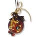 "Glass Pomegranate Good Luck Ornament (Gouri) - 3.5"" brown round"