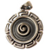 Neoclassic Collection :: Greek Key Round Pendant with Spiral Motif Center w/ leather cord